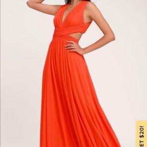 NWT Vivid Imagination Coral Red Cutout Maxi Dress